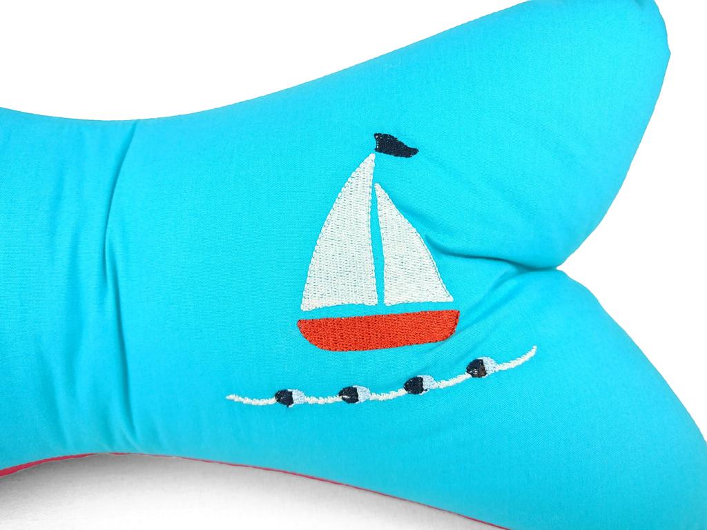 Leseknochen-Segelboot-türkis-Detailansicht