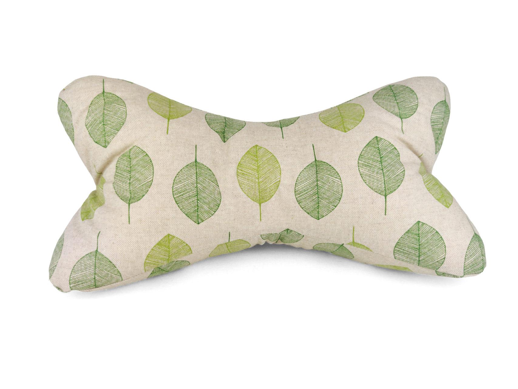 Leseknochen im Leinen Look mit grünen Blättern
