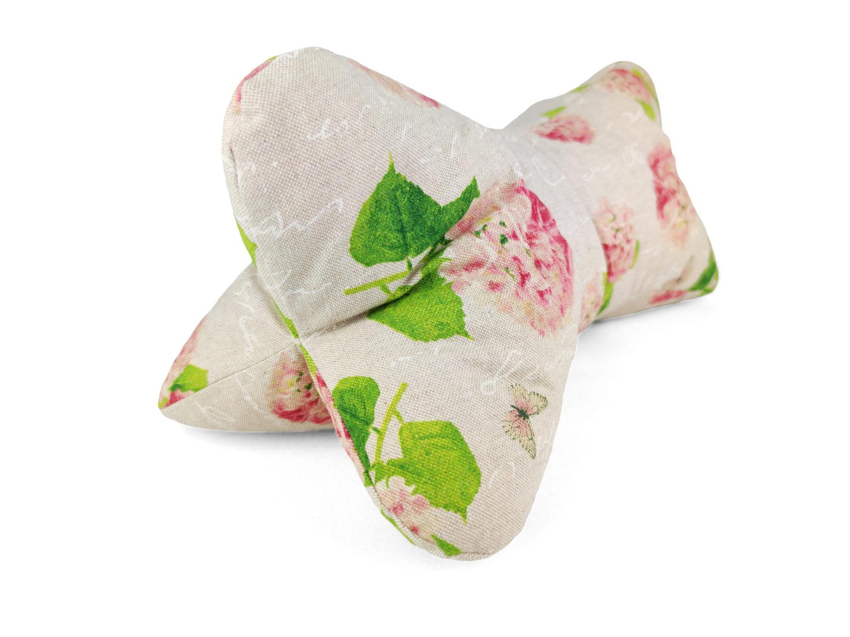 Leseknochen Leinen Look rosa Hortensien Blüten