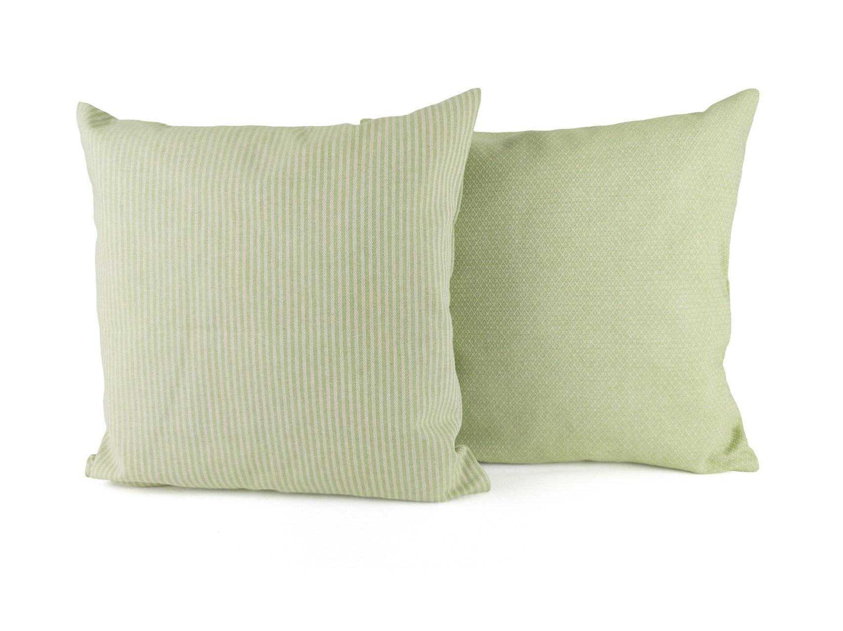 Kissen-Set-C-zwei-Kissen-Streifen-Rauten-hellgrün