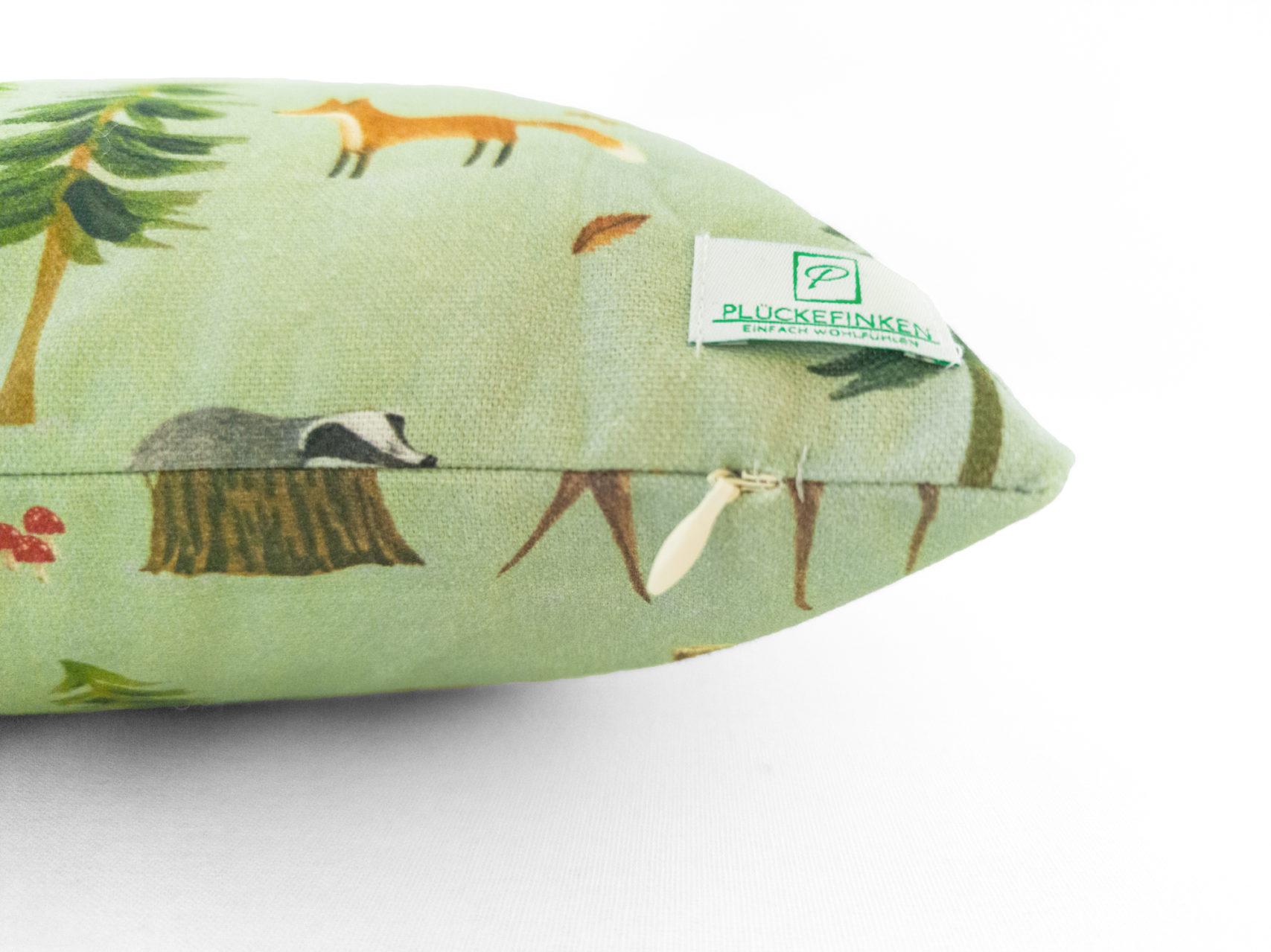 Kinder-Kissen-40x40-Waldtiere-grün