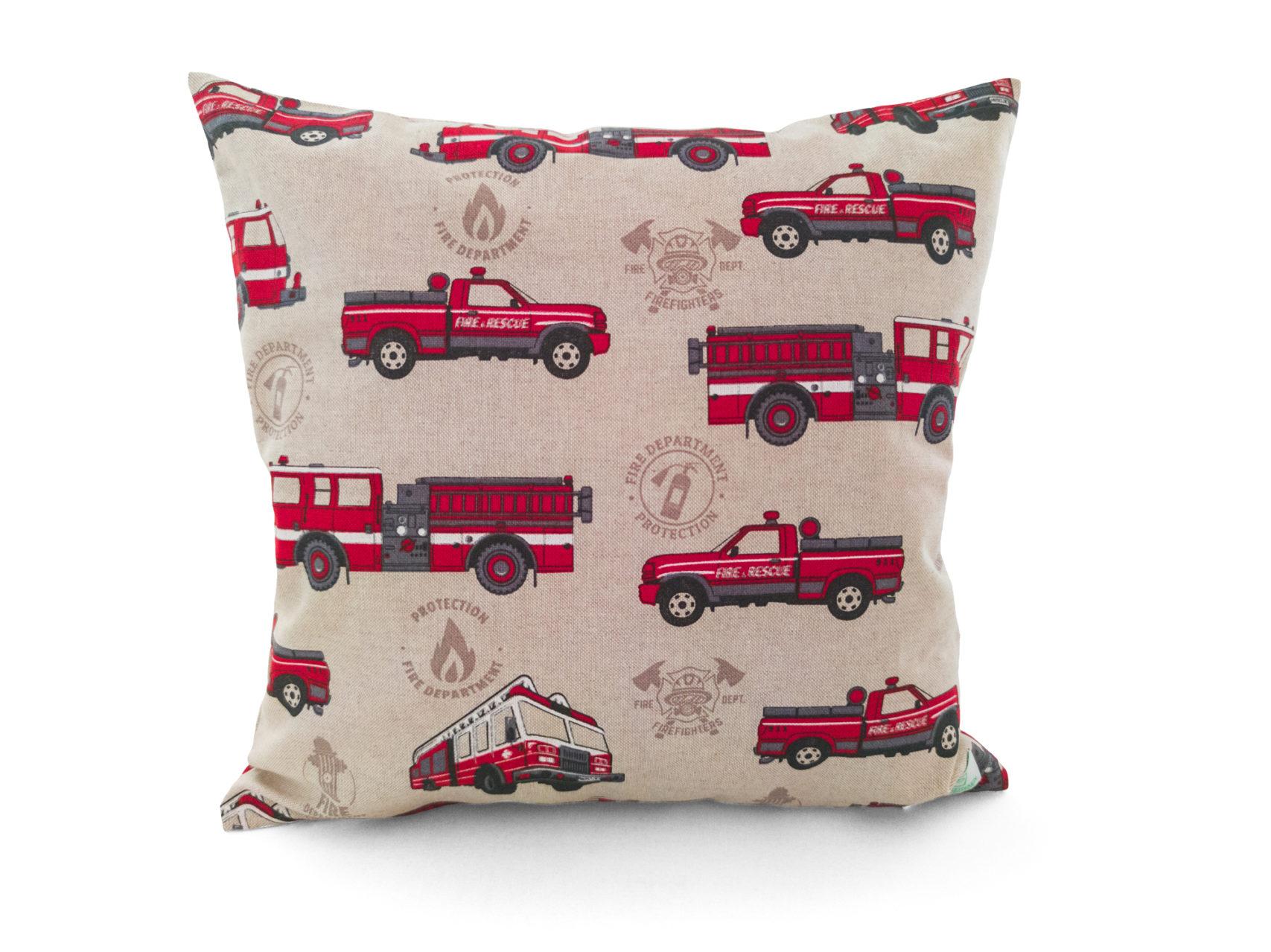 Kinder-Kissenbezug-40x40cm-Feuerwehr-rot