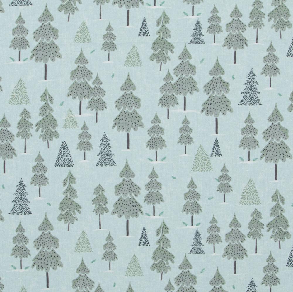 Stoff-Winterwald-hellblau-Tannenbäume