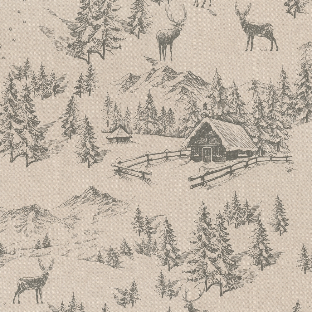 Stoffdetail-Berghütte-im-Winterwald-1a