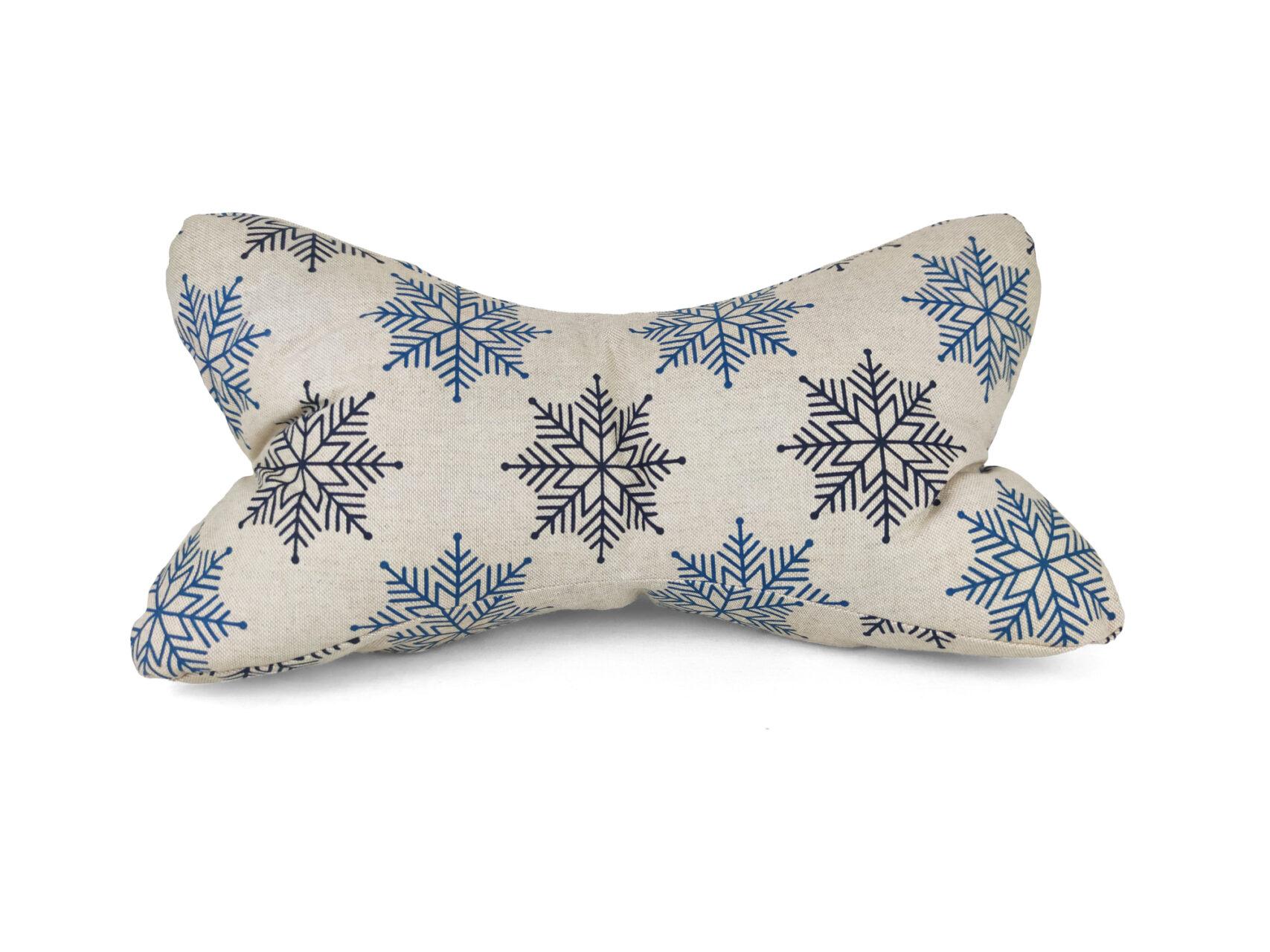 Leseknochen-Schneeflocken-beige-blau